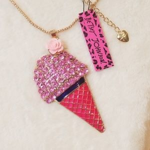 Betsey Johnson Pink Ice Cream Cone Necklace
